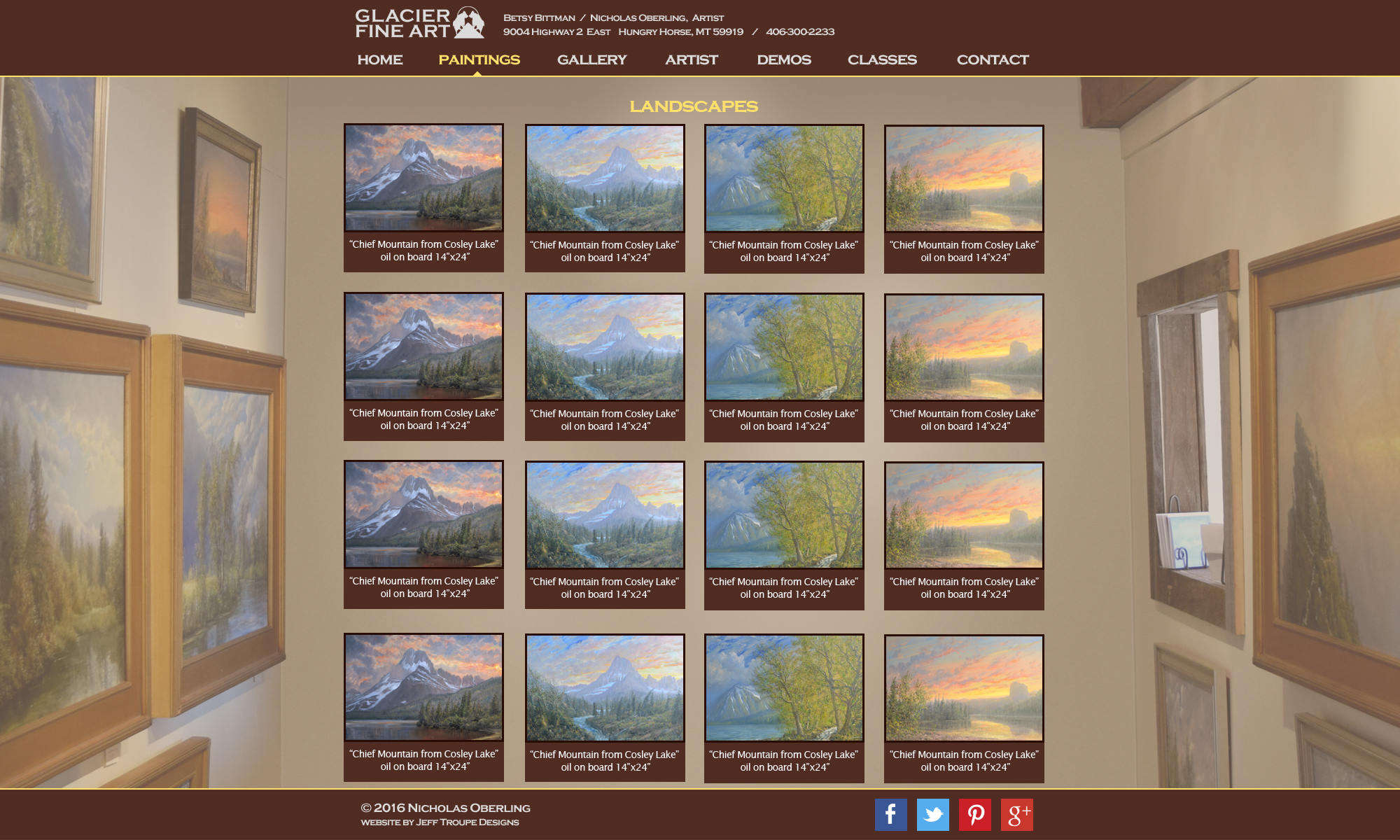 website design image paintings of mountains and trees inside art gallery
