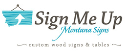 Missoula graphic designer logo with wooden Montana sign and text